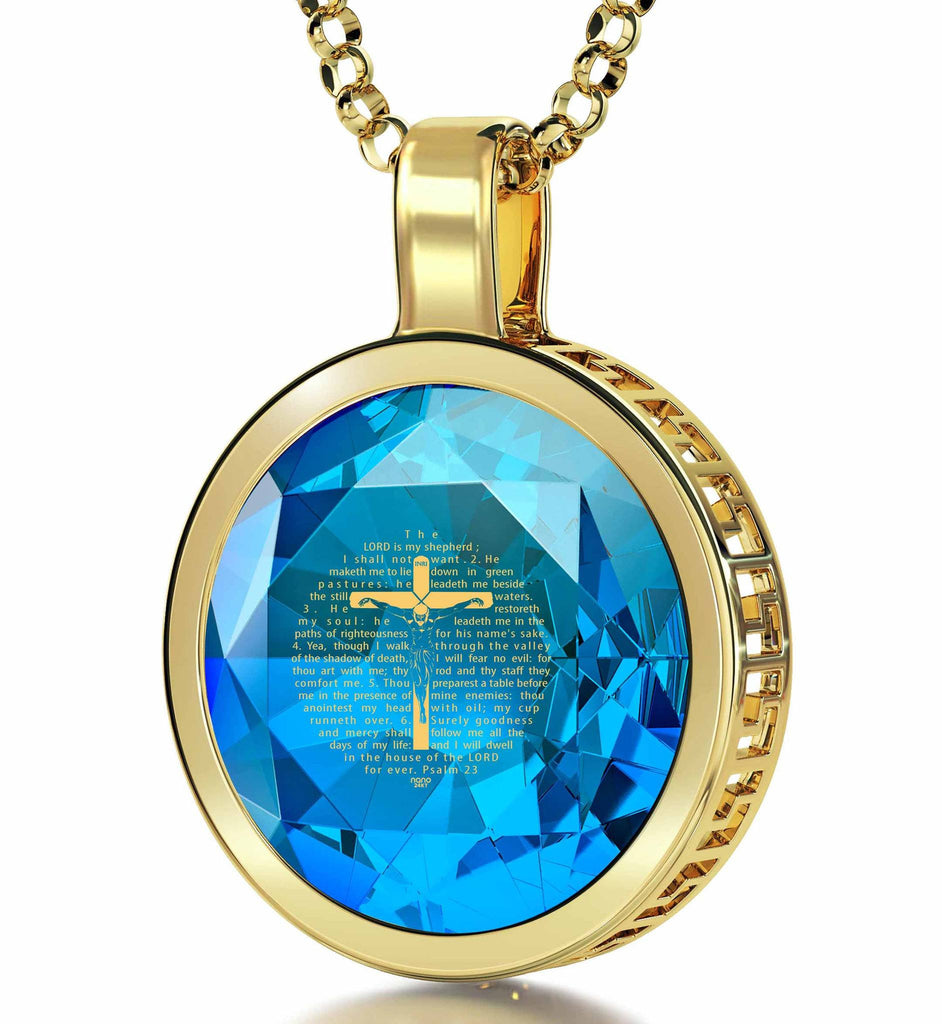 """Psalm23Engravedin24k, BestPresents for Women, CatholicCrossNecklace, AquamarineJewellery, NanoJewelry"""
