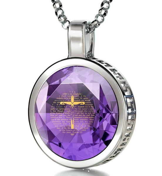 """Psalm23Engravedin24k, TopGiftIdeas for Women, Presents for Grandma, WhiteGoldNecklace, NanoJewelry"""