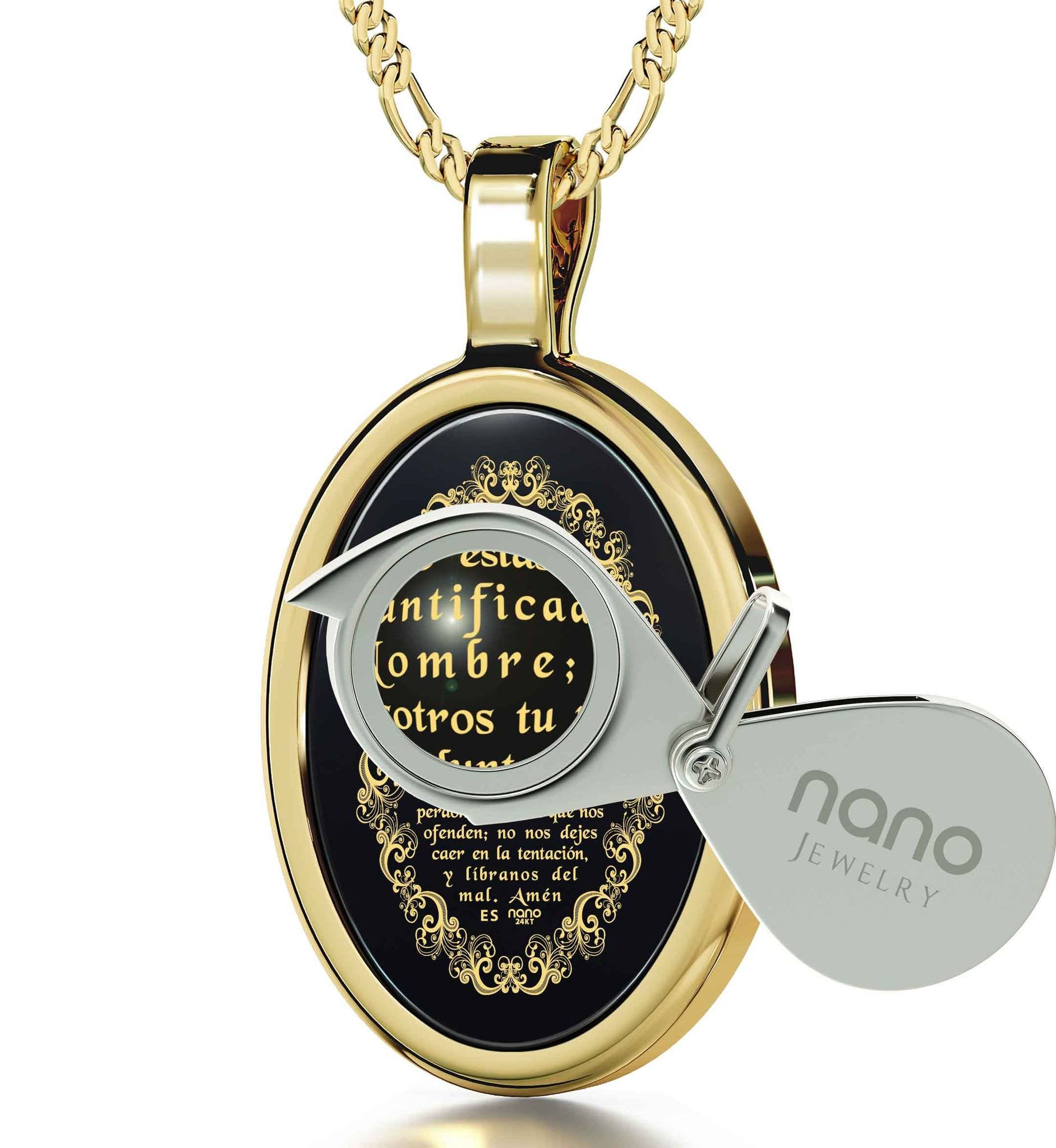 """The Lord's Prayer:14k Gold Religious Pendants,Top Womens Gifts,Christmas Presents for Sister, Nano Jewelry"""