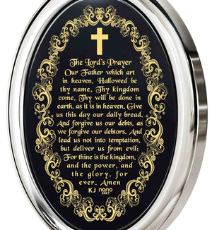 """The Lord's Prayer:14k White Gold Chain with Pendant, Mens Christmas Ideas, Special Gifts for Sisters, Nano Jewelry"""
