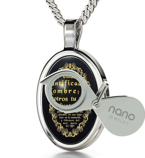 """The Lord's Prayer: 14k White Gold Religious Pendants, Top Womens Gifts, Christmas Presents for Sister, Nano Jewelry"""