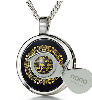 """The Lord's Prayer: 14k White Gold Round Pendant,Womens Presents, Catholic Necklace, Nano Jewelry """