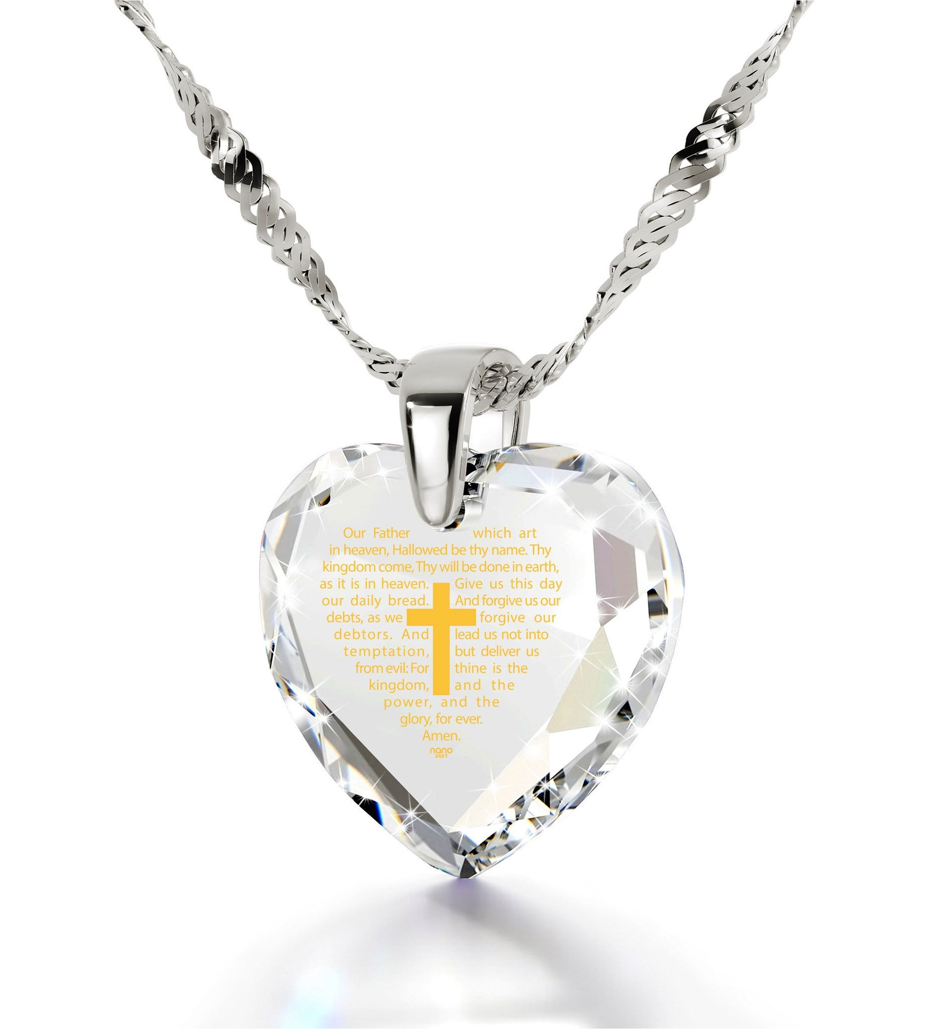 """Our Father: Crystal Heart Pendant, What to Get Girlfriend for Christmas, Cross Necklace for Girl, Nano Jewelry """