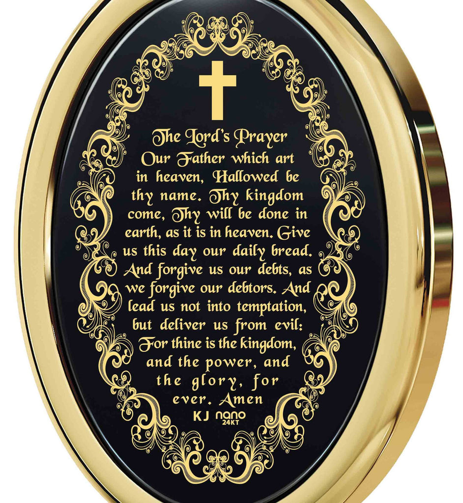 """The Lord's Prayer: Gold Chain with Pendant, Mens Christmas Ideas, Special Gifts for Sisters, Nano Jewelry"""