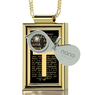 """The Lord's Prayer: Gold Cross Pendant, Mens Christmas Ideas, Mens Christian Necklaces, Nano Jewelry"""