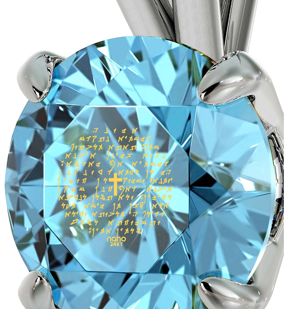 """""Our Father"" in Aramaic, , Great Christmas Gifts for Wife , Birthday Present Ideas for Girlfriend, Blue Stone Jewellery """