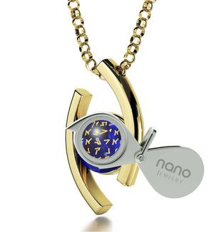 """""Our Father"" Aramiac Inscription In 24k, Mother's Day Gifts for Wife, Grandma Jewelry, Swarovski Necklace, by Nano """