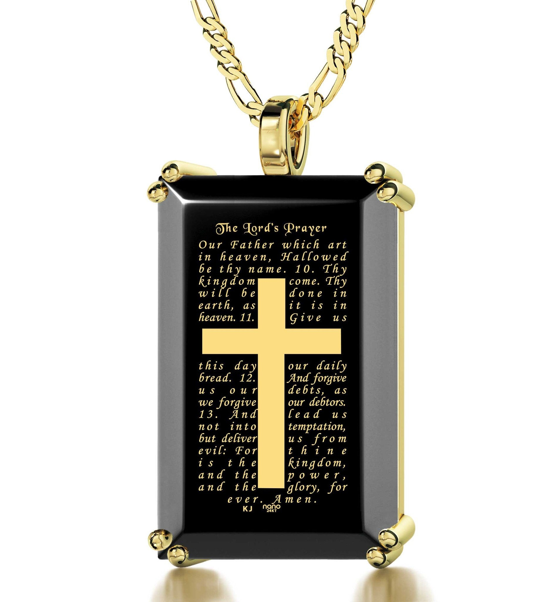 """The Lord's Prayer: Our Father Pendant, Gold Cross Necklace Mens, Gifts for Catholics, Nano Jewelry"""