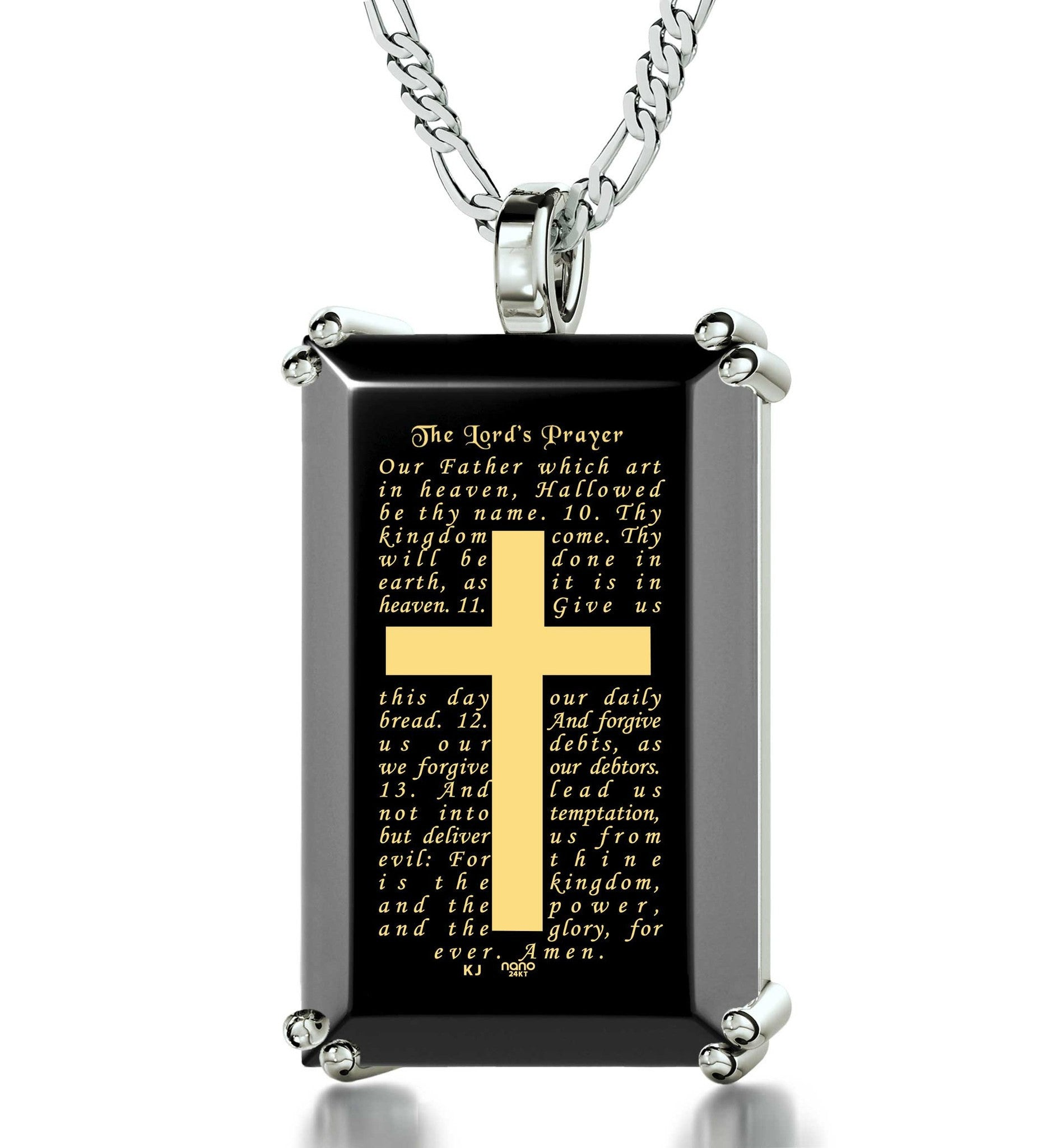 """The Lord's Prayer: Sterling Silver Religious Pendants, Cross Necklace for Boys, Gifts for Men. Nano Jewelry"
