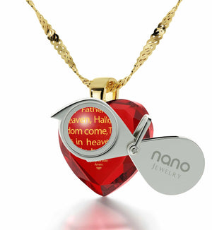 """Our Father: Red Heart Pendant, Xmas Ideas for Her, Cross Necklaces for Women """