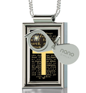 """The Lord's Prayer: Sterling Silver Cross Pendant, Mens Christmas Ideas, Mens Christian Necklaces, Nano Jewelry"""