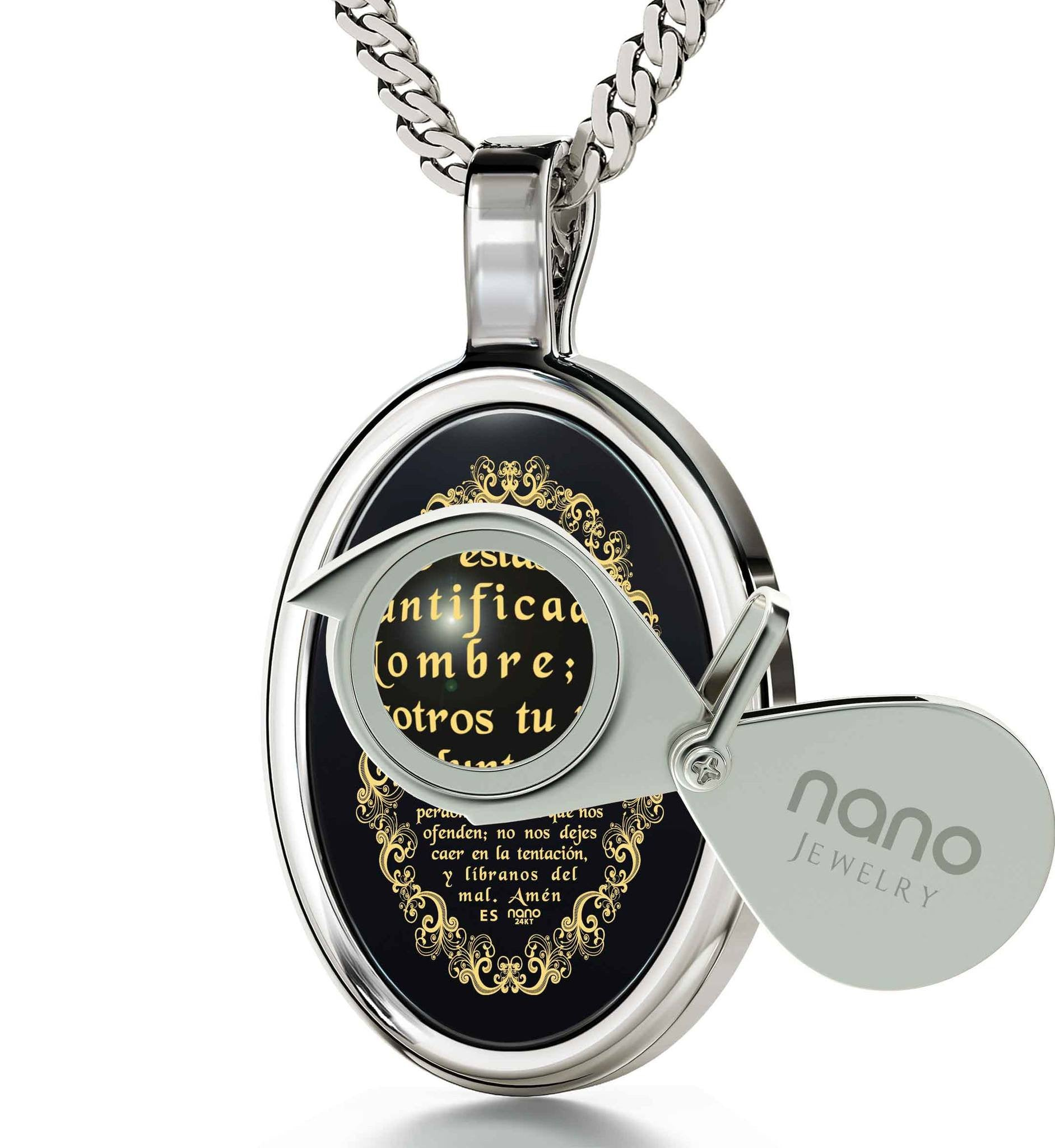 """The Lord's Prayer:Sterling Silver Religious Pendants, Christmas Presents for Sister, Top Womens Gifts, Nano Jewelry"""