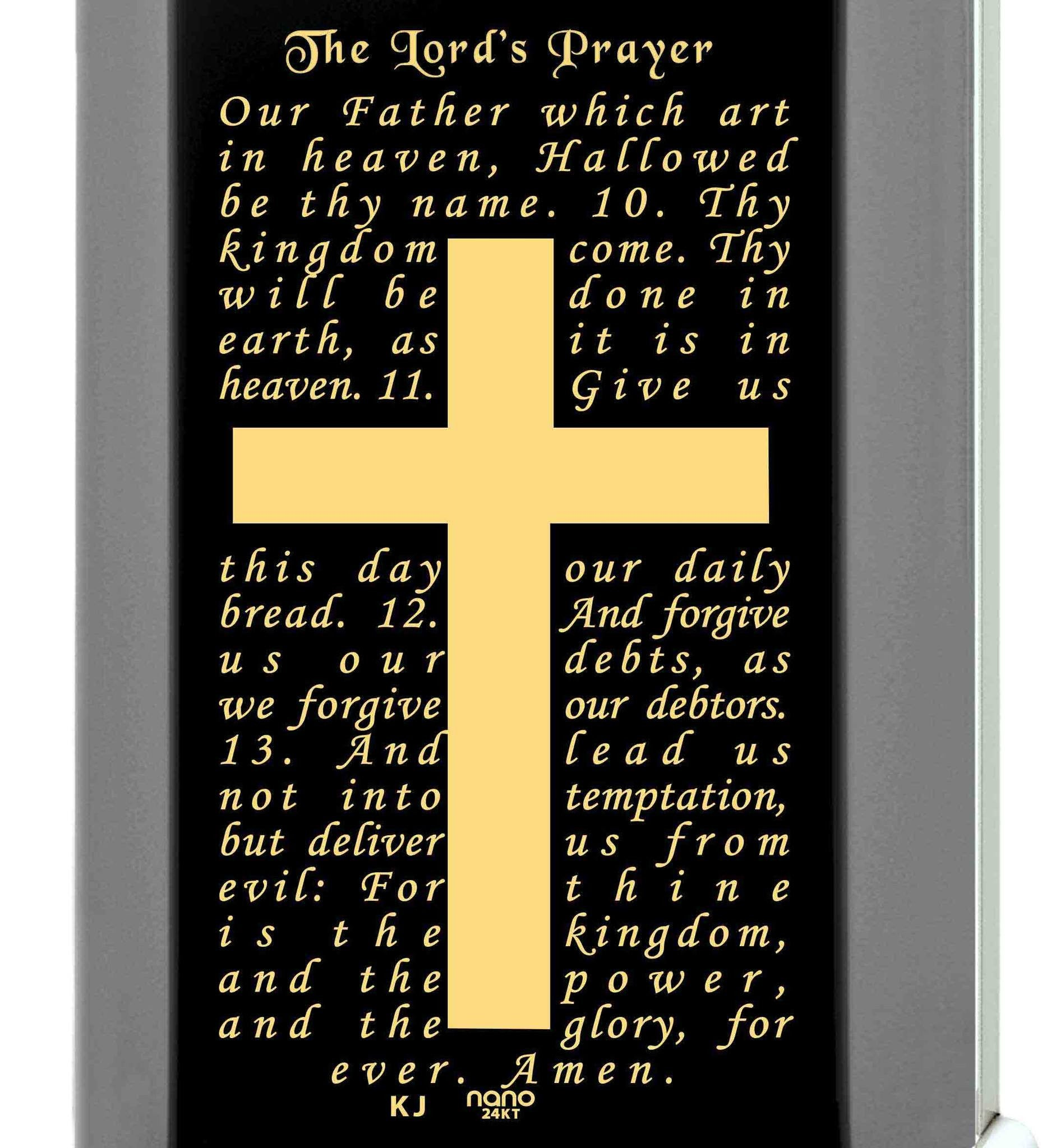 """The Lord's Prayer: Our Father Pendant, Sterling Silver Cross Necklace for Men, Nano Jewelry"""