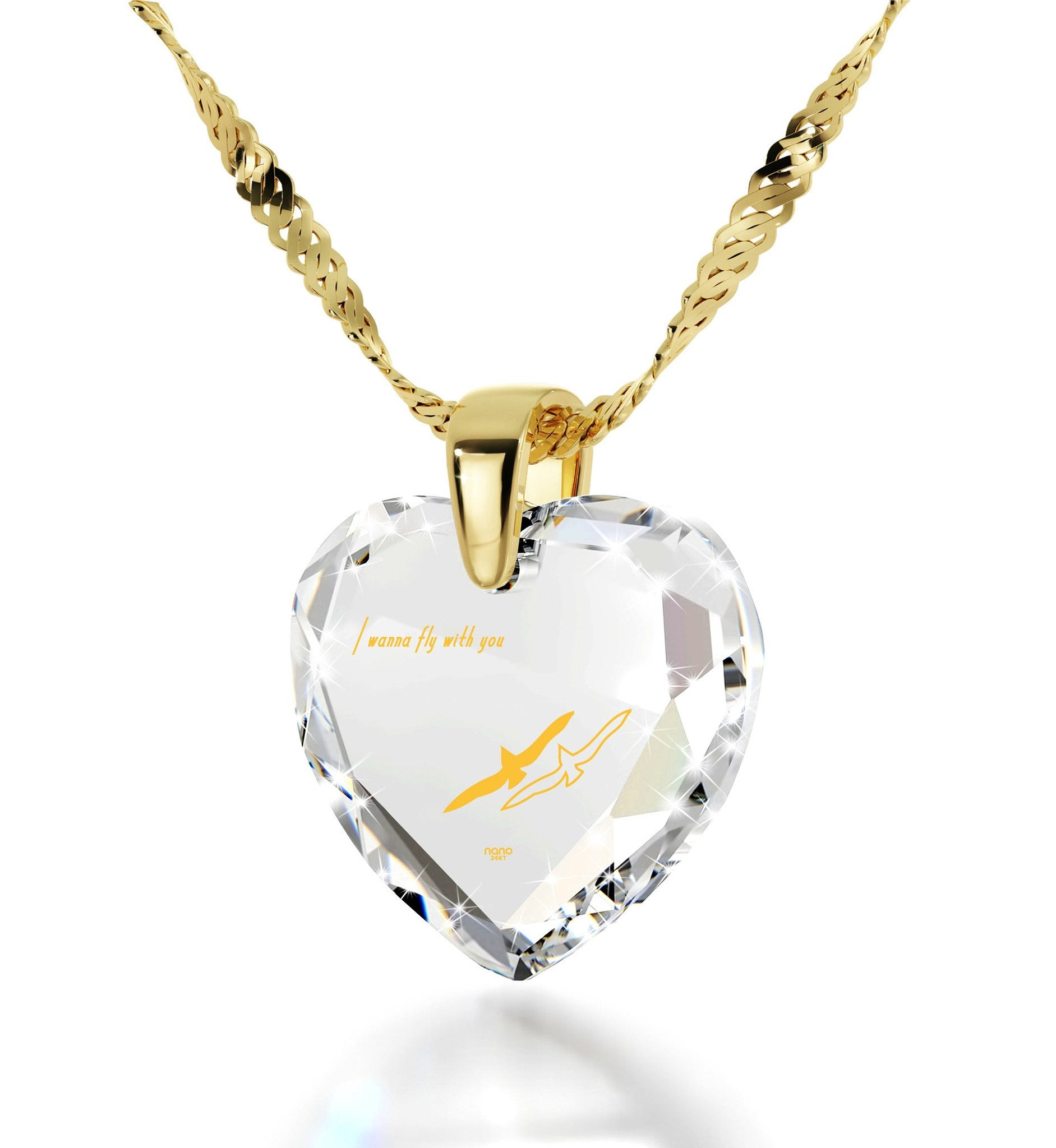 """Best Valentine Gift for Girlfriend, Meaningful Necklaces, CZ White Heart, Birthday Present for Wife, by Nano Jewelry """