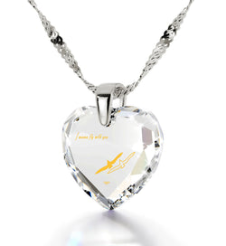 """The Love Necklace, ""I Wanna Fly with You"" Engraved In 24k Gold on Crystal Cubic Zirconia Jewelry"""