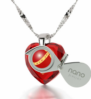 """Xmas Ideas for Her, Red Heart Stone Meaningful Necklace, Creative Gifts for Girlfriend, by Nano Jewelry"""