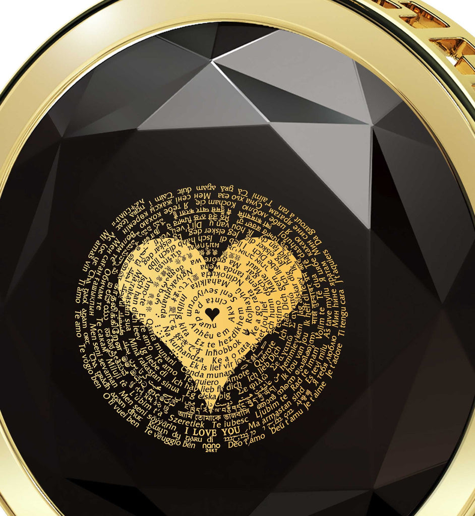 "Valentines Day Online Shopping: ""I Love You"" in All Languages - Round - Silver Gold Plated - Nano Jewelry"