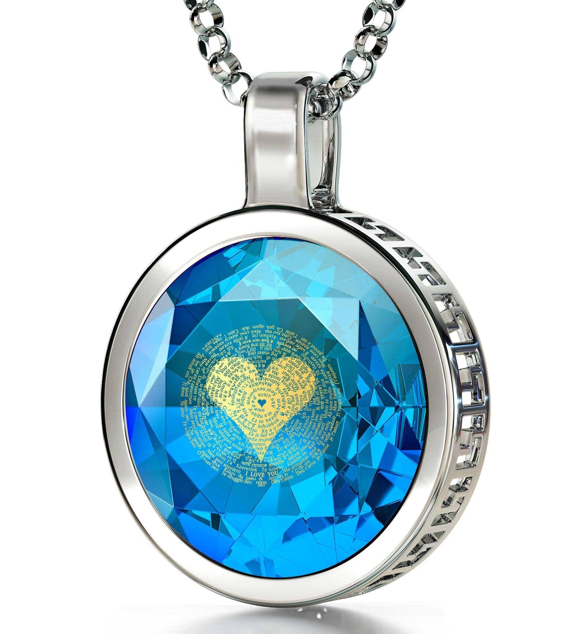 "Valentines Day Necklace for Her: ""I Love You"" in 120 Languages - Round - Nano Jewelry"