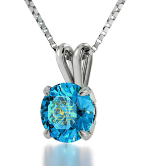 "Top 10 Christmas Gifts for Wife: ""I Love You"" Engraved in 24k, Blue Topaz Swarovski Necklace, Good Presents for Girlfriend"