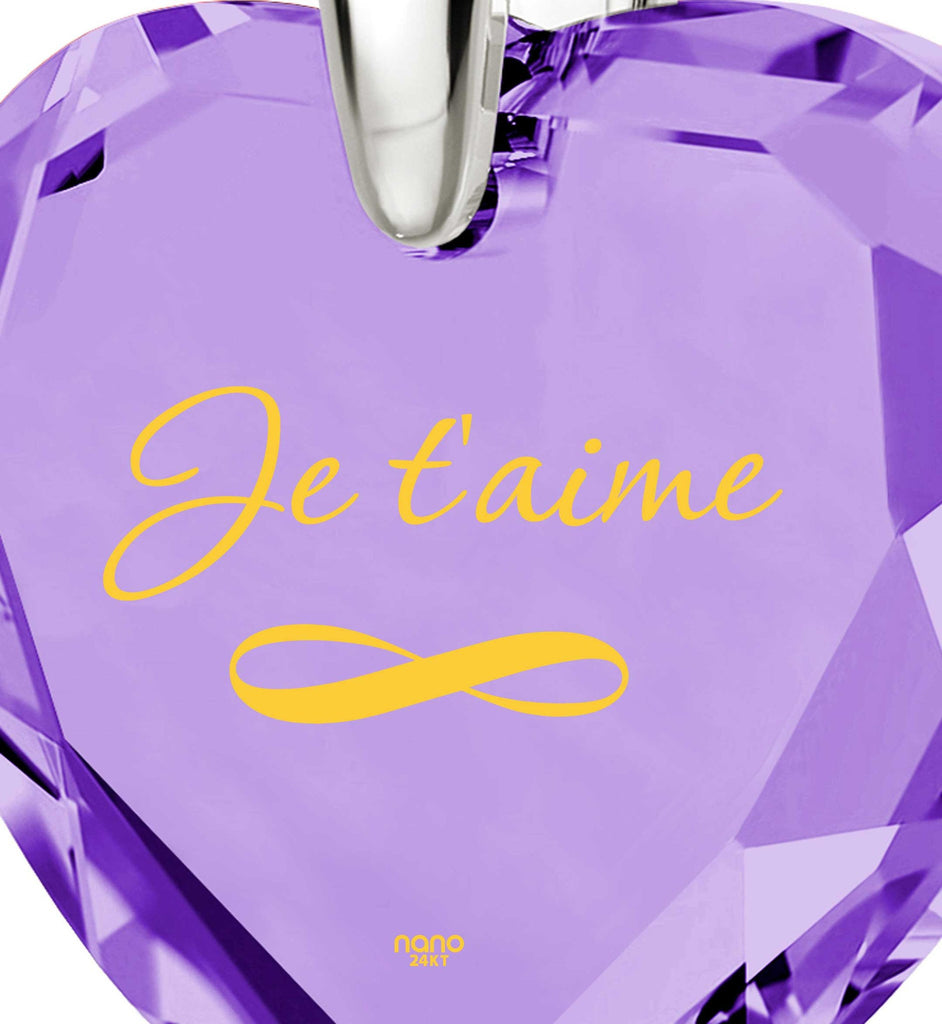 """Valentines Ideas for Her: ""I Love You"" in French – ""Je T'aime"", 14k White Gold Imprint, by Nano Jewelry"""