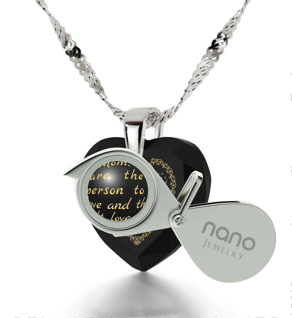 Top Gift for Mom, Birthday Presents for Mother, Black Stone Necklace, Engraved in 24k Gold, by Nano Jewelry
