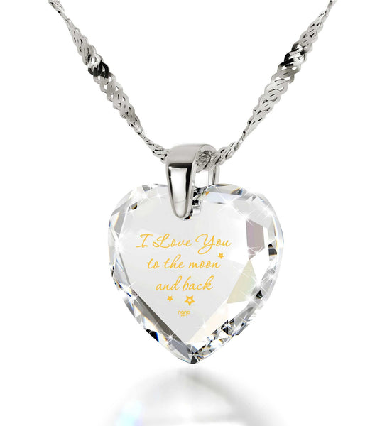 """Heart Necklaces for Girlfriend, 24k Engraved Pendant,14k White Gold Jewelry, Gift for Wife Anniversary, Nano"""