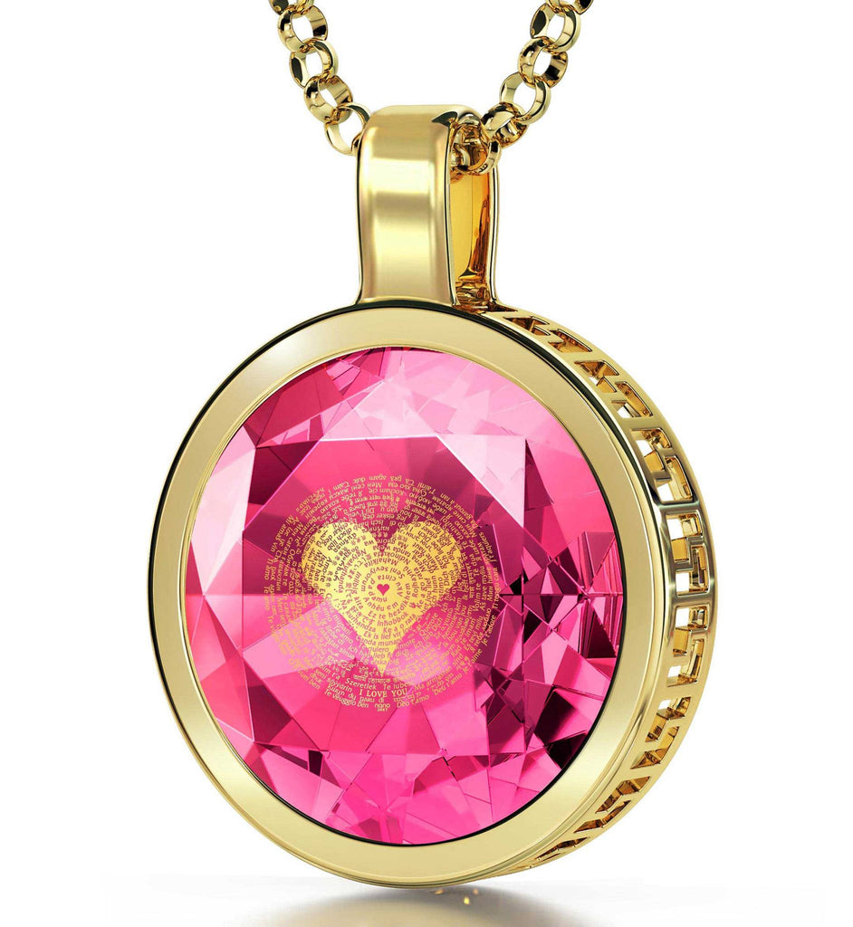 "Jewelry Valentines Day: ""I Love You"" in All Languages - Round - Silver Gold Plated - Nano Jewelry"