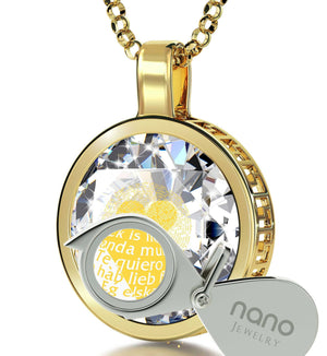"Valentine's Day Jewelry Gift: ""I Love You"" in All Languages - Round - Silver Gold Plated - Nano Jewelry"