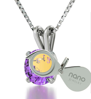 "Top Gift Ideas for Women, Silver Jewelry with ""...Got You"" Engraved on Purple CZ Pendant, Cool Xmas Presents"