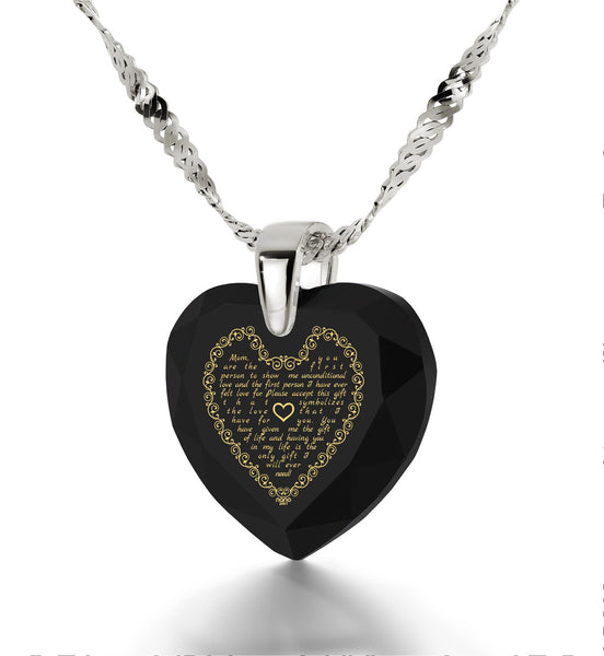 Top Gifts for Mom, Birthday Presents for Mother, Black Stone Necklaces, Engraved in 24k Gold, by Nano Jewelry