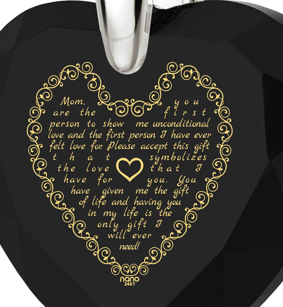 Top Gifts for Mom, Birthday Presents for Mother, Black Stones Necklace, Engraved in 24k Gold, by Nano Jewelry