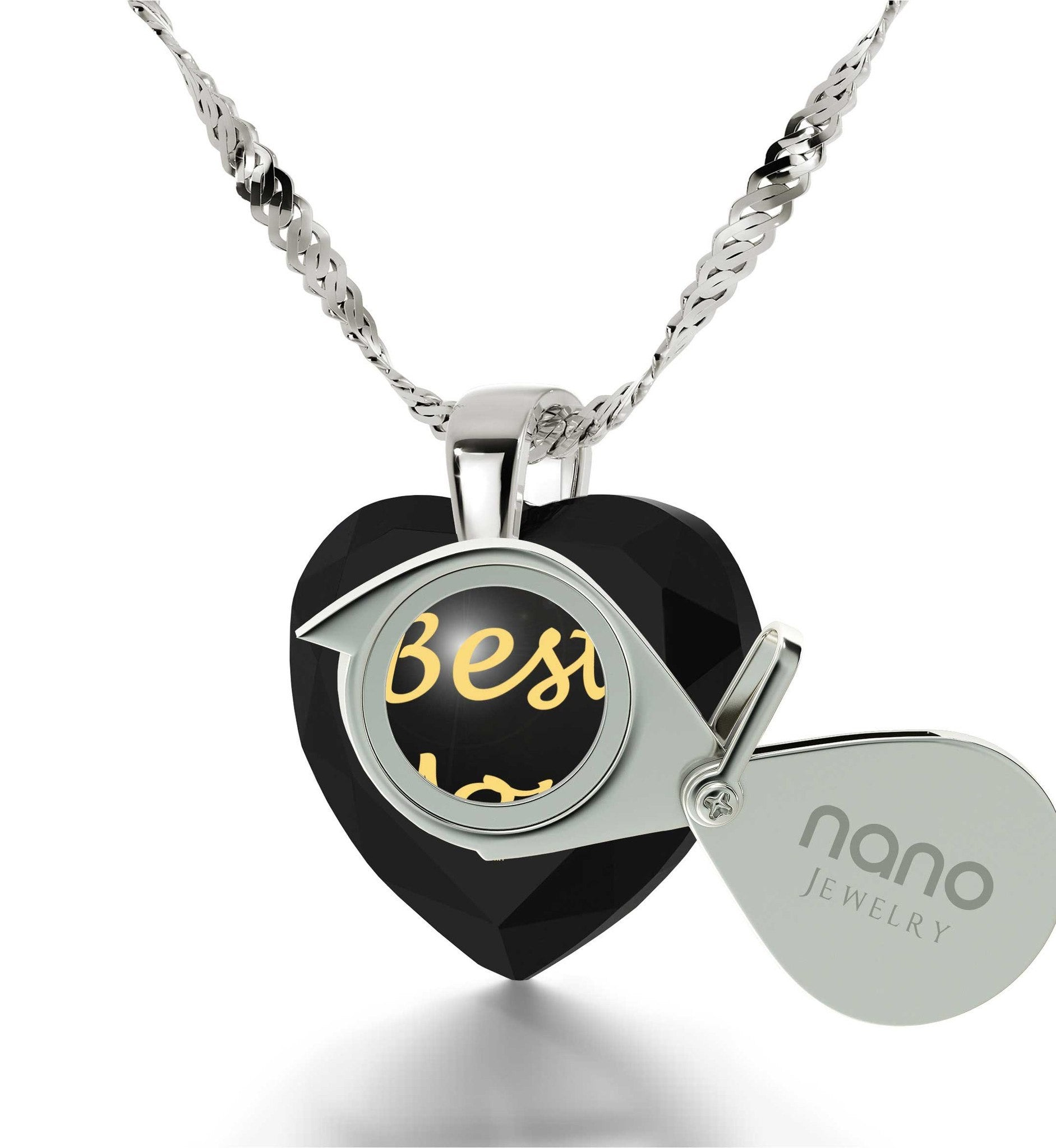Top Gifts for Mom, Engraved Black Jewelry, Mother Birthday Present, by Nano