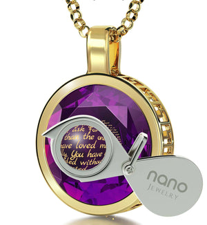 Top Gifts for Mom, Gold Filled Meaningful Jewelry with Amethyst CZ, Mother Daughter Necklace, by Nano