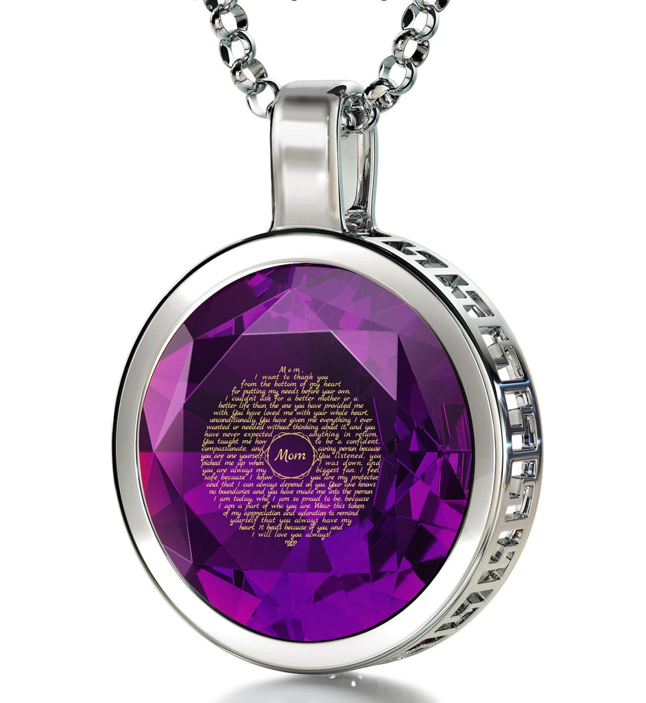 Top Gifts for Mom, Inscribed In 24k Pure Gold, Christmas Gifts for Mother in Law, by Nano Jewelry