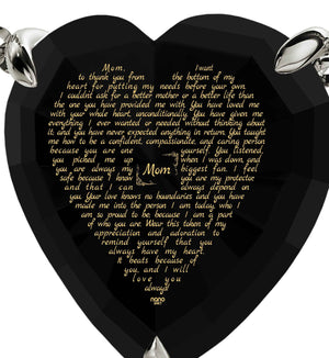 Top Gifts for Mom, Meaningful Necklaces, CZ Black Heart, Mother Day Presents by Nano Jewelry