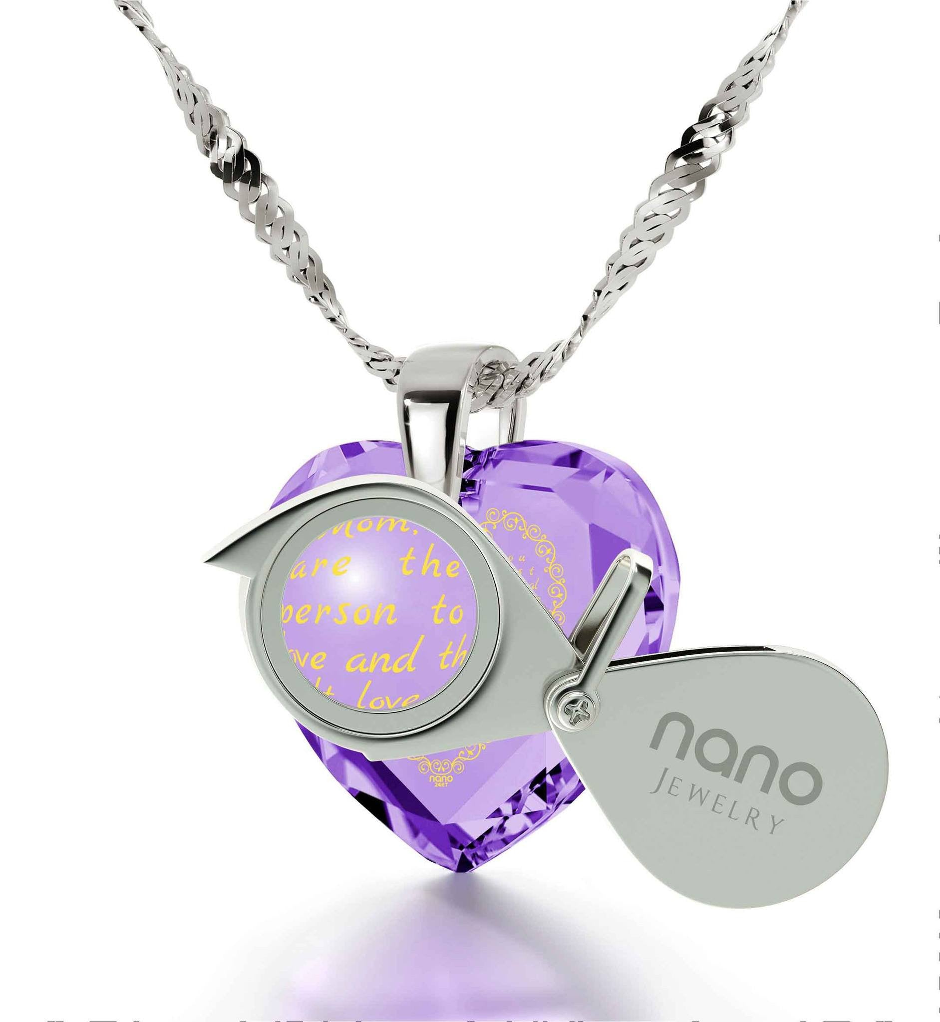 Top Gifts for Mom, Mother's Day Jewelry, Purple Necklace, Engraved in 24k, by Nano