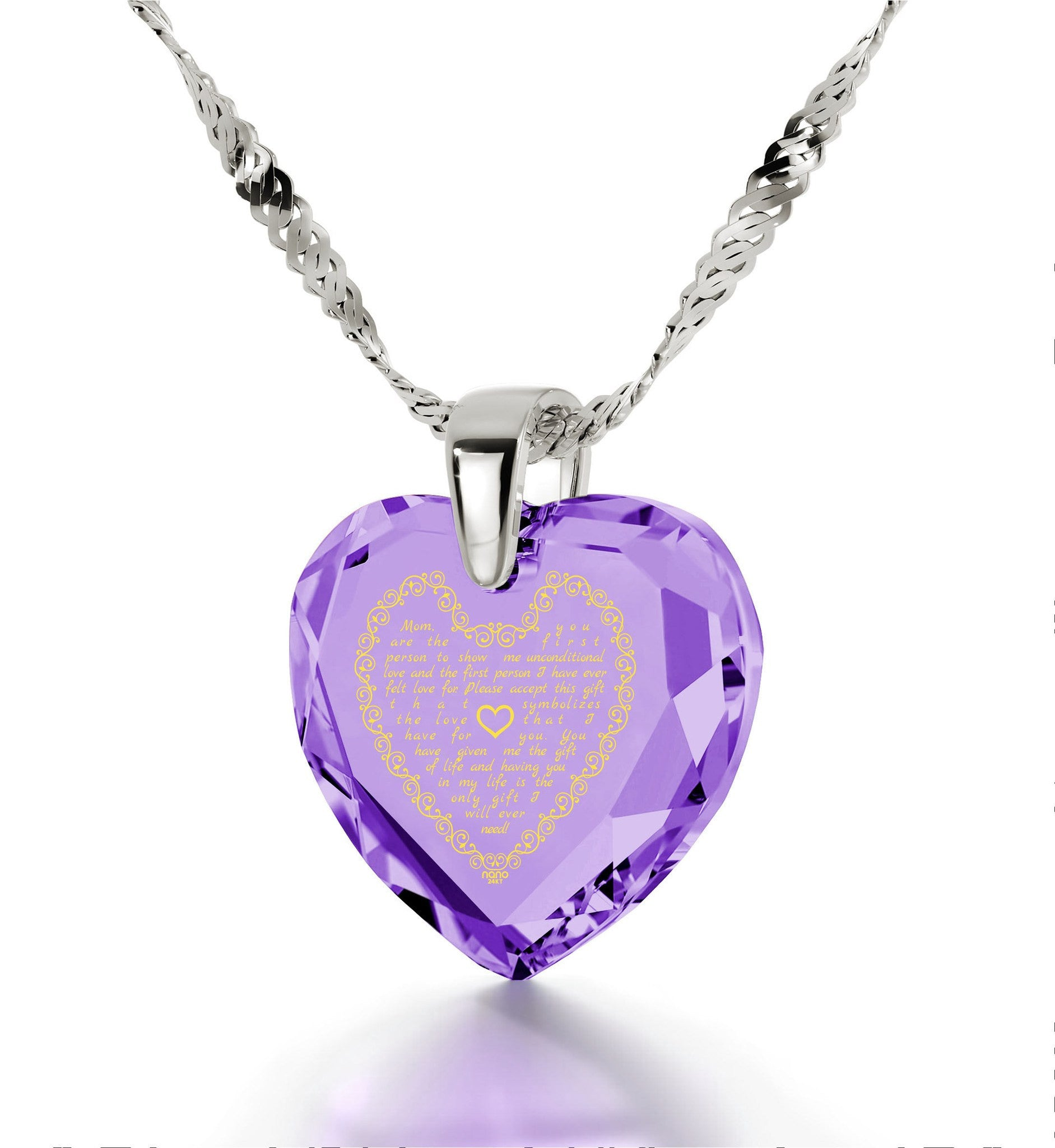 Top Gifts for Mom, Mother's Day Jewelry, Purple Necklace, Engraved in 24k Gold, by Nano