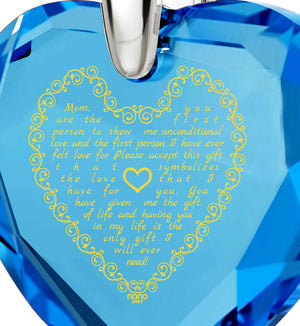 Top Gifts for Mom, Mothers Necklace, Turquoise Jewelry, Engraved in 24k, by Nano