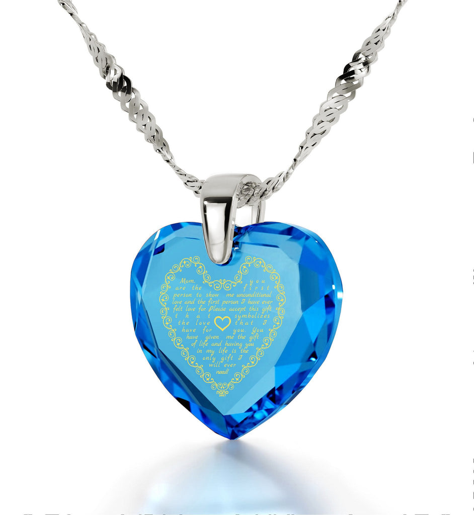 Top Gifts for Mom, Mothers Necklace, Turquoise Jewelry, Engraved in 24k Gold, by Nano