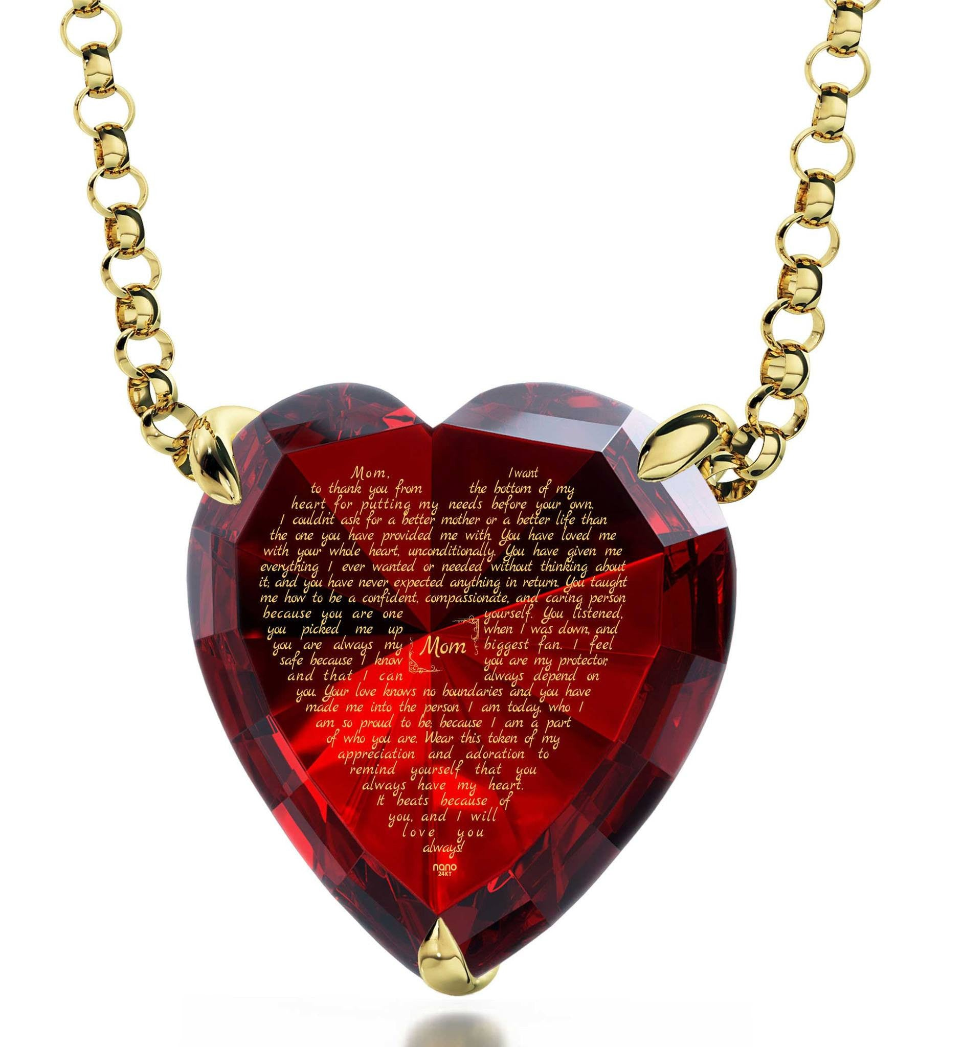 Top Gifts for Mom, Real 14k Gold Necklace, CZ Red Heart, Mother Day Presents by Nano Jewelry