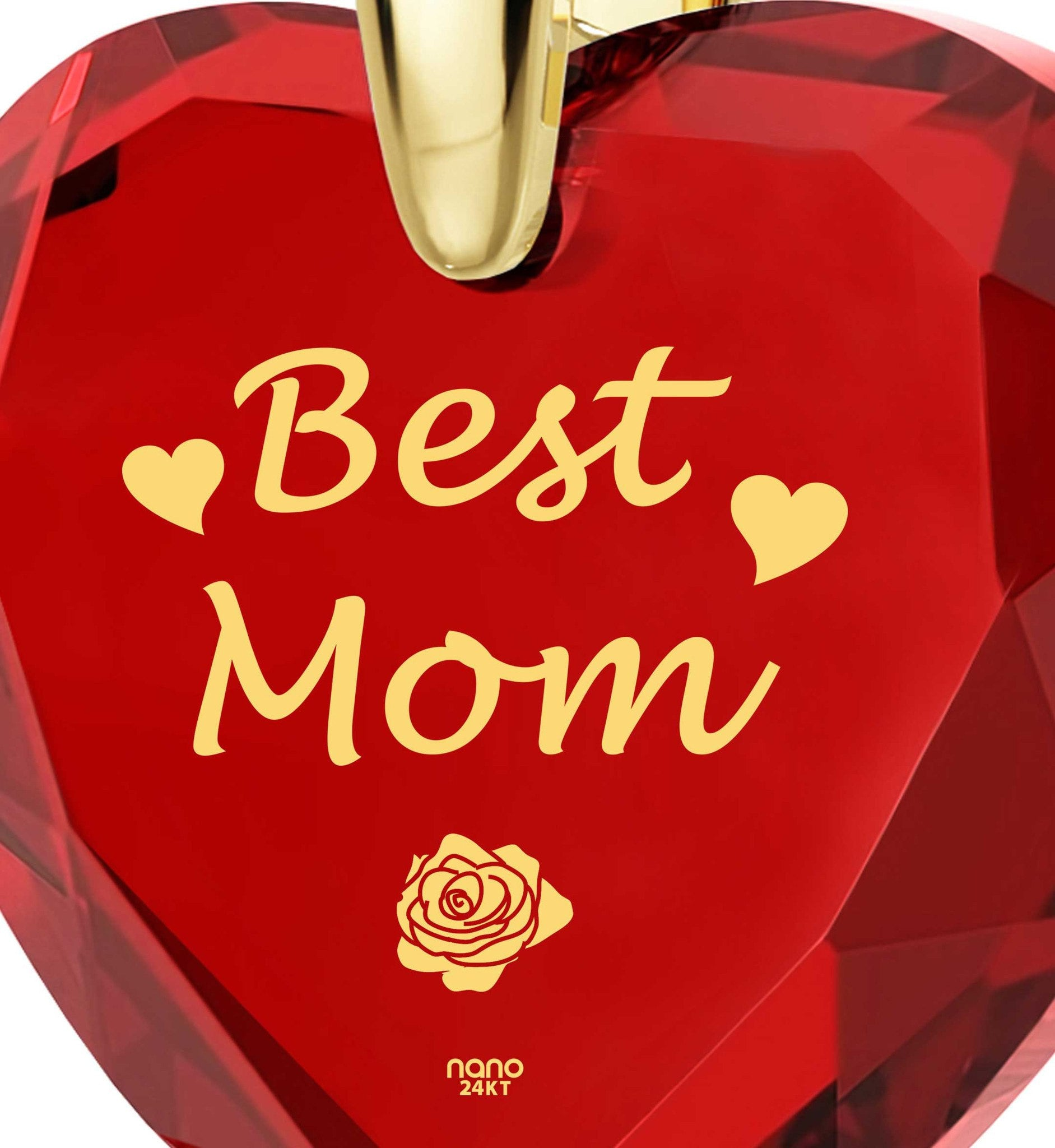 Top Gifts for Mom, Red Heart Necklace, Mother Birthday Present, by Nano Jewelry