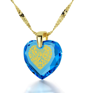 """Heart Necklaces for Girlfriend, 14k Gold, 24k Imprint, Gift for Wife Anniversary, Nano Jewelry"""