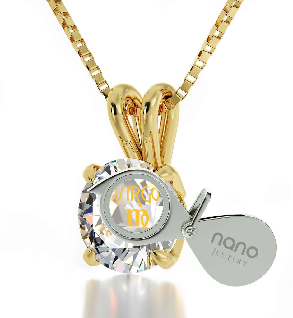 """Mum Birthday Present, Virgo Sign Engraved on 14k Gold White Stone Necklace, Gift Ideas for Young Women """
