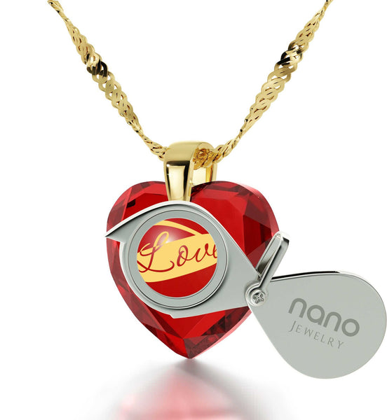 Top Gifts for Wife, 14k Gold Necklace,Heart CZ Stone,Pure Romance Products,by Nano Jewelry