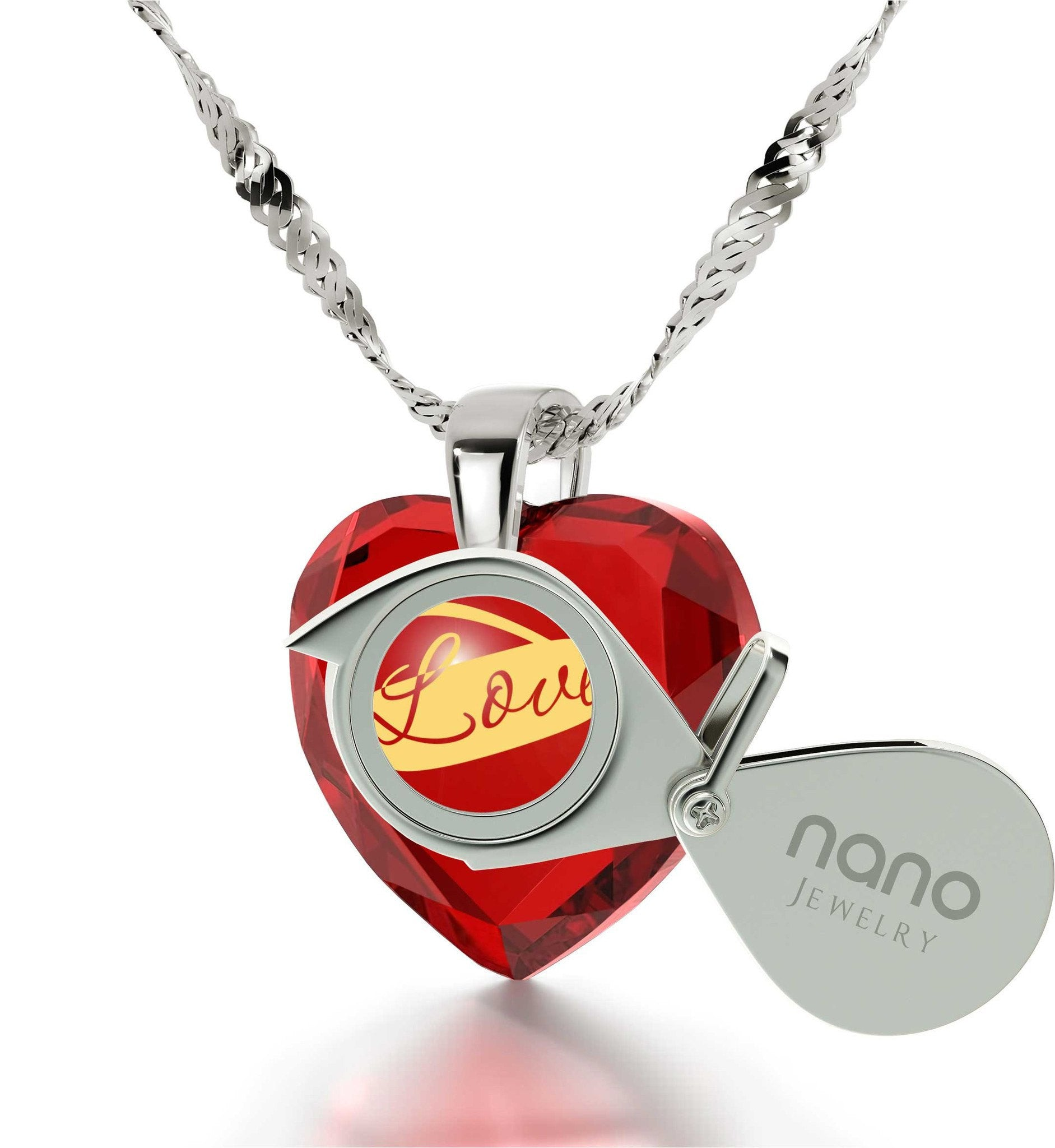 Top Gifts for Wife, 14k White Gold Necklace, Heart CZ Stone, Pure Romance Products, by Nano Jewelry