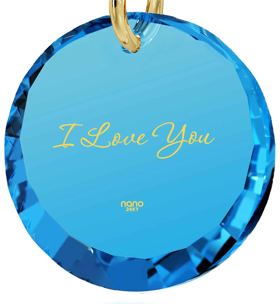 Top Gifts for Wife, 24k Engraved Pendant, CZ Jewelry, Valentines Ideas for Her, Nano