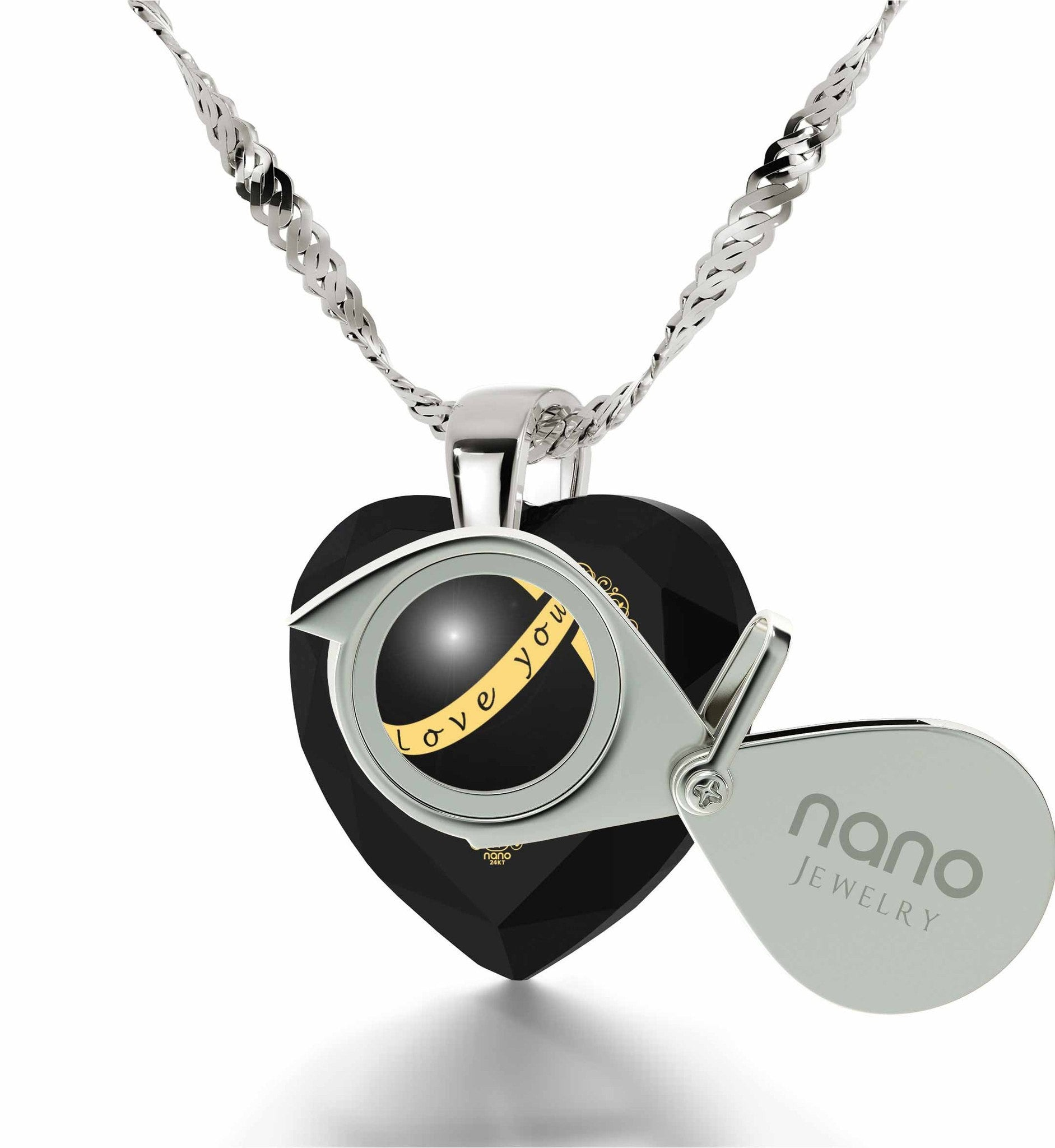 """Top Gifts for Wife, Black Heart Stone Engraved Jewelry, What to Buy Your Girlfriend for Christmas"""