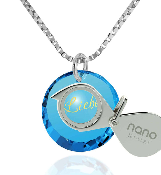Top Gifts for Wife, Blue Stone Pendant, CZ Jewelry, Cool Xmas Presents, Nano