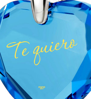 "Top Gifts for Wife, Blue Stone Pendant,""Te Quiero"", Womens Presents, Nano Jewelry"