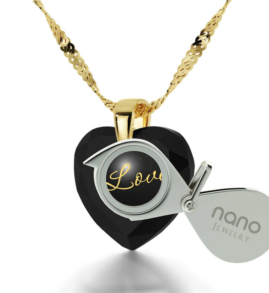 Top Gifts for Wife, I Love You Gold Necklace, Birthday Present Ideas for Girlfriend, by Nano Jewelry